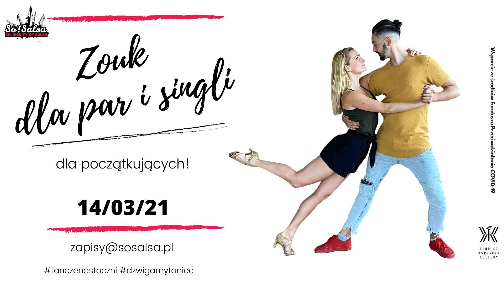 Zouk dla par&singli - kurs tańca dla początkujących 14/03/21