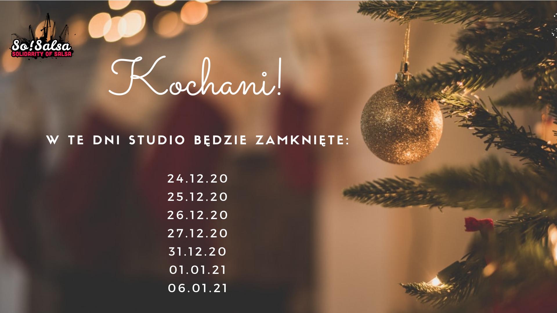 24-27, 31 grudnia oraz 1, 6 stycznia studio nieczynne.